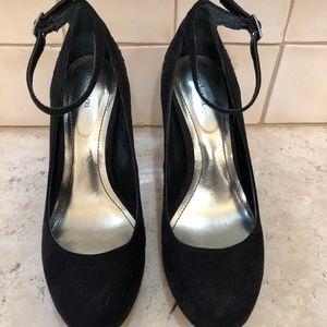 Black Faux Suede Heels (Like New!!!)